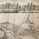 A Plan of the Garden and View of ye Buildings of ye Rt Honble Pelham Esq at Echa in ye County of Surry, John Rocque