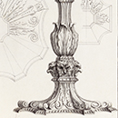 Gothic candlestick from Some Designs of Mr Inigo Jones and Mr William Kent