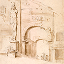 Drawing of a view at Tivoli, William Kent