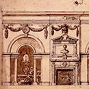 Design for the west wall of the Marble Parlour, Houghton Hall, William Kent