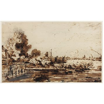 Drawing - The Thames with Waterloo Bridge