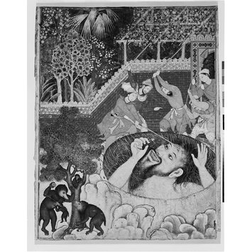 Painting - Zumrud Shah falls into a pit and is beaten by gardeners