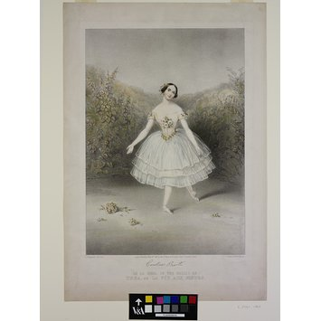 Print - Carolina Rosati (facsimile signature) / AS LA ROSE, IN THE BALLET OF / THEA, OU LA FÉE AUX FLEURS.