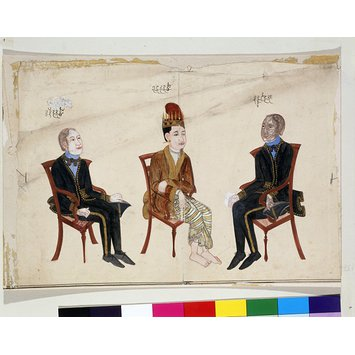 Painting - One of three drawings  recording the mission of friendship led by Sir Arthur Phayre and his meeting with the envoy of King Mindon of Burma in Calcutta, 1854.