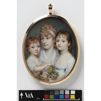 Portrait miniature - Portrait of the wife of a purser in the East India Company's service, with two of her children