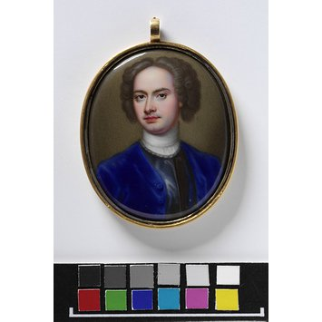Enamel miniature - Portrait of an unknown man, said to be Robert Lee, 5th Earl of Lichfield