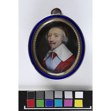 Enamel miniature - Portrait of Cardinal Armand Jean du Plessis (1585-1642), Duc de Richelieu, possibly after Nanteuil