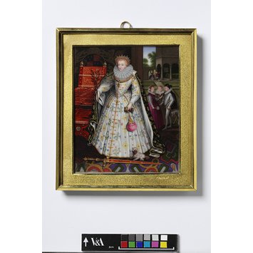 Enamel miniature - Portrait of Queen Elizabeth (1533-1603), probably after Gheeraerts