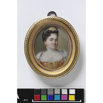 Enamel miniature - Portrait of Catherine I, Empress of Russia (1682-1727), second wife of Peter the Great, after a portrait by Nattier (dated 1717)