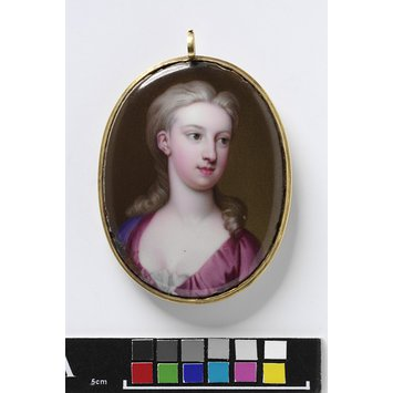 Enamel miniature - Portrait of an unknown girl, with initials B. M.