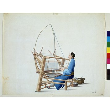 Painting - Woman weaving cotton