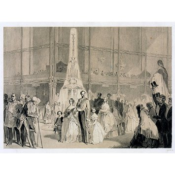 Print - Her Majesty and the Princes passing through the Crystal Palace