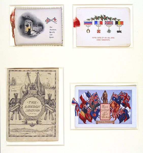 A series of 4 wartime Christmas cards, made in Britain, 1914-1915