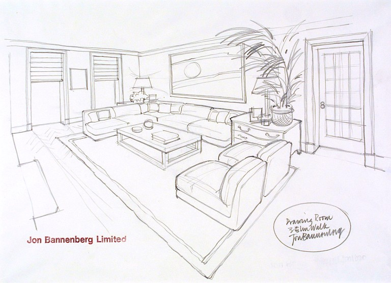 Design By Jon Bannenberg For A Drawing Room At 3 Elm Walk