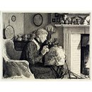 A Lady making lace (Print)