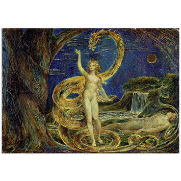 Tempera painting - Eve Tempted by the Serpent