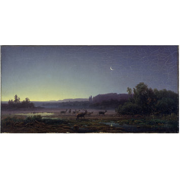 Oil painting - Deer at Dawn near Munich