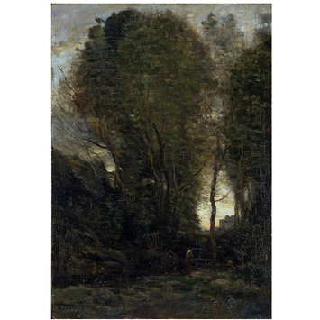 Oil painting - Twilight: Landscape with Tall Trees and a Female Figure