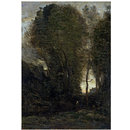 Twilight: Landscape with Tall Trees and a Female Figure (Oil painting)