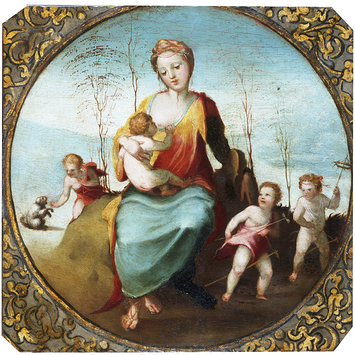 Oil painting - Charity suckling a Child and Surrounded by Three Children Playing with a Dog and Hobby Horses