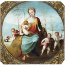Charity suckling a Child and Surrounded by Three Children Playing with a Dog and Hobby Horses (Oil painting)