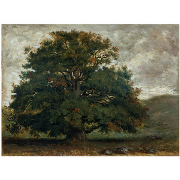 Oil painting - A Tree in Fontainebleau Forest; Arbre solitaire