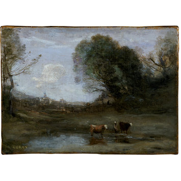 Oil painting - Morning: Landscape with Two Cows and a Figure; Effet de Matin