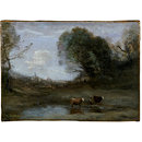 Morning: Landscape with Two Cows and a Figure; Effet de Matin (Oil painting)