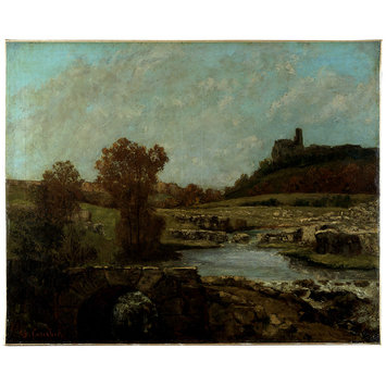 Oil painting - Landscape, with the Chatel St Denis, Scey-en-Varais