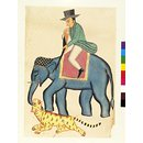 Englishman on a elephant shooting a tiger (Drawing)