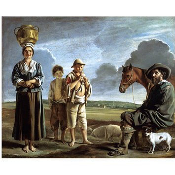 Oil painting - The Resting Horseman; La Halte du Cavalier; Landscape with figures