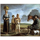 The Resting Horseman; La Halte du Cavalier; Landscape with figures (Oil painting)