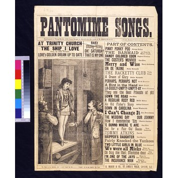 Song sheet - Pantomime Songs