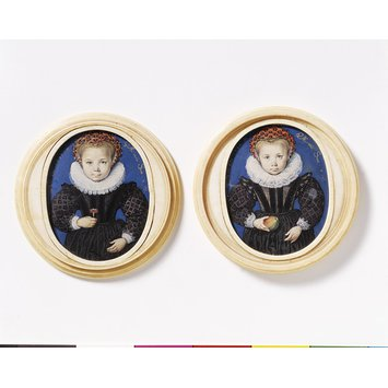 Portrait miniature - An Unknown Girl, aged four; Girl aged four, holding an apple