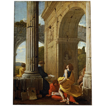 Oil painting - Artists Sketching among Antique Ruins