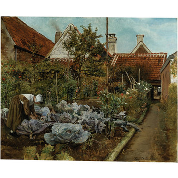 Oil painting - A Flemish Kitchen Garden: La Coupeuse de Choux