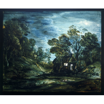 Oil painting - Wooded Moonlight Landscape with Pool and Figure at the Door of a Cottage