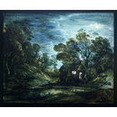 Wooded Moonlight Landscape with Pool and Figure at the Door of a Cottage (Oil painting)