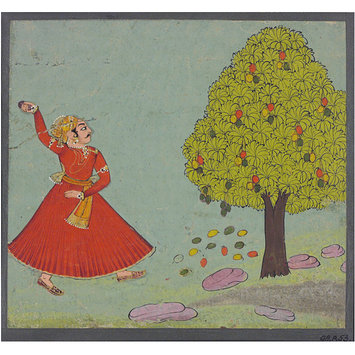 Painting - A man hurling stones at a mango tree; A man hurling stones at a mango tree.