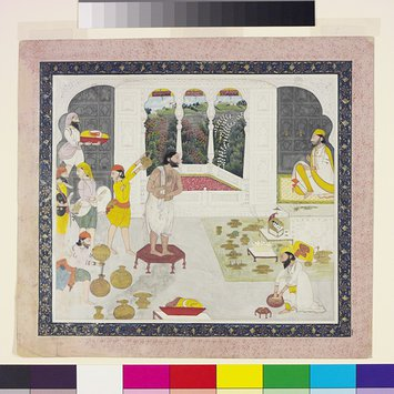 Painting - Maharaja Gulab Singh of Jammu taking his bath prior to worship