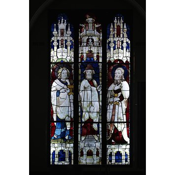 Window - Prophet Ezekiel flanked by Saints John the Evangelist and James the Less