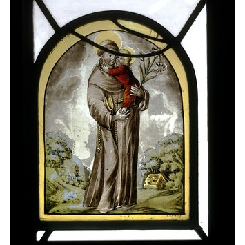 Panel - St Anthony of Padua standing with the infant Christ in his arms