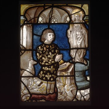 Panel - A Kneeling donor before a statue of Saint Mary Magdalene