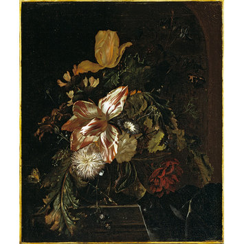 Oil painting - Flowers in a glass vase