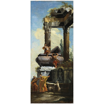 Oil painting - A Fountain with Classical ruins