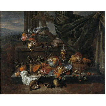 Oil painting - Still Life with Fruit, a Parrot and Polecat Ferrets