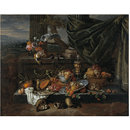 Still Life with Fruit, a Parrot and Polecat Ferrets (Oil painting)