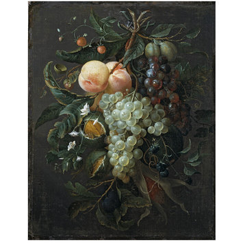 Oil painting - Festoon with Fruit, Corn, Nuts and Flowers