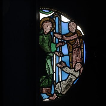 Panel - Scene from the life of St Benedict; St Benedict Healing a Child