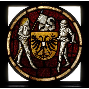 Panel - Shield of arms with knight supporters